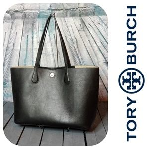 Black Pebbled Leather Large Tote